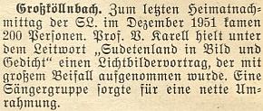 Zpráva z roku 1951 o jeho přednášce se světelnými obrazy vGroßköllnbach