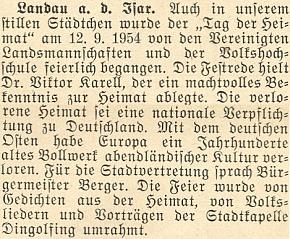 """O jeho slavnostním projevu ke """"Dni domova"""" vLandau an der Isar v září 1954"""