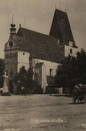 Farní kostel sv. Mikuláše v Horní Stropnici na pohlednici Josefa Seidela...