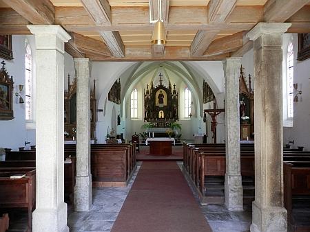 Interiér kostela sv. Vavřince v Přídolí (viz i Severin Ignaz Gottsmisch)