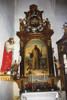 """Vedlejší oltář sv. Linharta, """"patrona stád"""""""