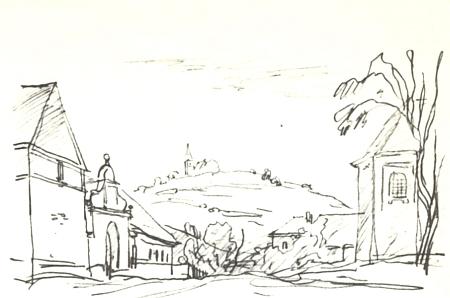 Štítary, kde také farářoval, na kresbě Ladislava Stehlíka z knihy Země zamyšlená, kterou si Stehlík  jako její autor i sám ilustroval
