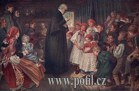 """Obraz Quido Mánesa """"Křesťanské cvičení na vsi"""" (někdy se uvádí i jméno     """"Křesťanské cvičení na Domažlicku"""") z roku 1869"""