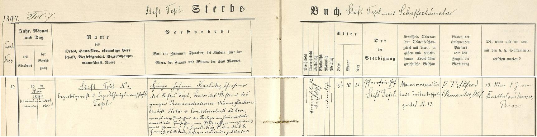 Záznam o jeho skonu v úmrtní matrice tepelského kláštera