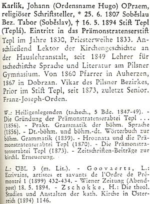 Jeho heslo v německém biografickém slovníku pro dějiny českých zemí