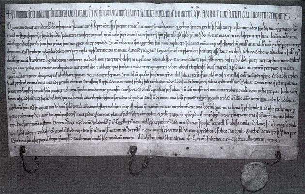 Tzv. Hroznatova závěť z března 1197, pokládaná za zakládací listinu tepelského kláštera