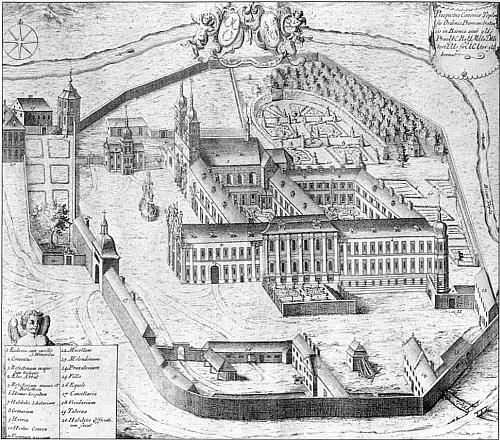 Tepelský klášter po barokní přestavbě na anonymním dřevorytu z roku 1735