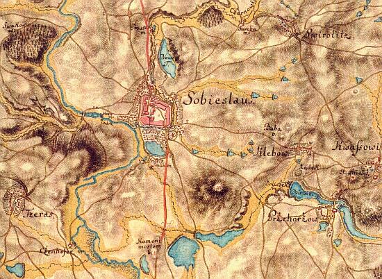 """Josefská vojenská mapa z roku 1768 zachycuje jeho rodnou Soběslav s""""Andělskými mlýny"""" (Engelsmühlen)"""