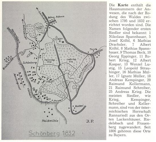 Plánek někdejší vsi Krásná Hora, k němuž Johannes Petraschek připojil jména prvých osídlenců - u stavení čp. 12 to byl Albert Kaspar