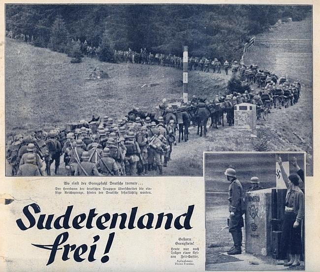 """Záhlaví článku o """"osvobození Sudet"""" z čísla Berliner Illustrierte Zeitung s datem 6. října 1938 a se snímky zpřechodu Mlaka/Bischofsreut při Krásné Hoře..."""