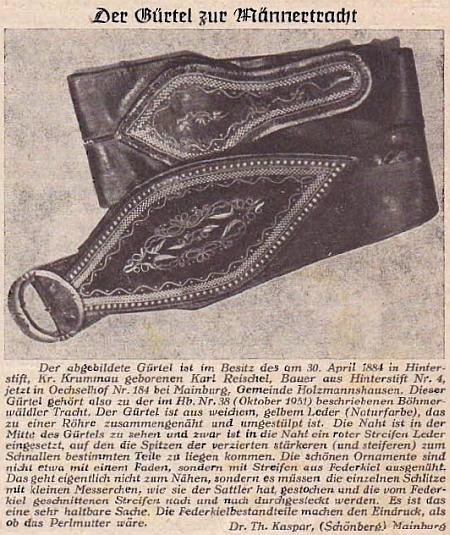 Takto zpodoben poslal redakci krajanského časopisu pás k šumavskému mužskému kroji (podobný je znám jako součást kroje doudlebského), v tomto případě z majetku Karla Reischela, rolníka ve dnes zcela zaniklém Zadním Boru (Hinterhaid) čp. 4