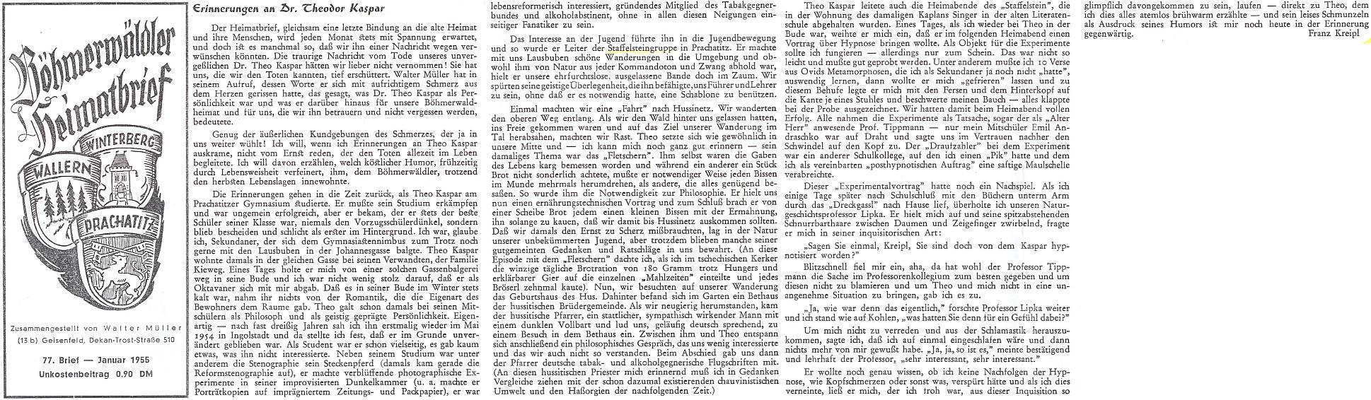 Vzpomínky Franze Kreipla na Dr. Theodora Kaspara