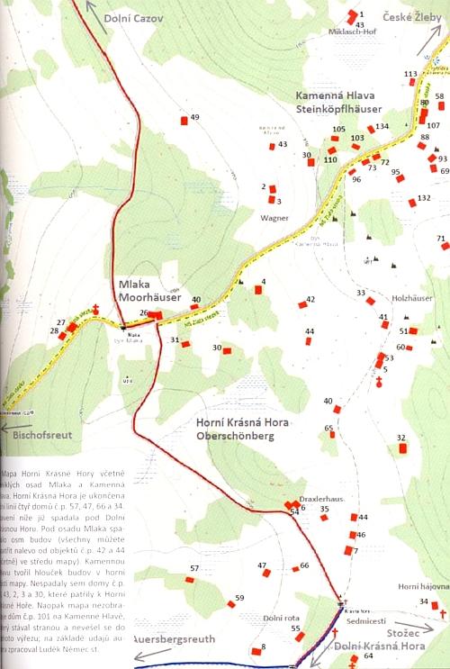 Ústřední poloha rodného domu čp. 40 na mapce Horní Krásné Hory včetrně osad Mlaka a Kamenná Hlava