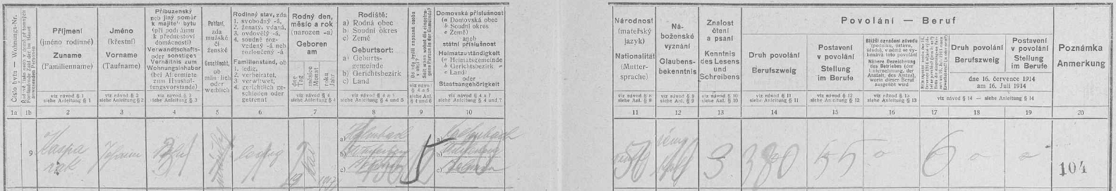 Takto osaměle figuruje na archu sčítání lidu z roku 1921 pro chalupu čp. 11 v Michlově Huti