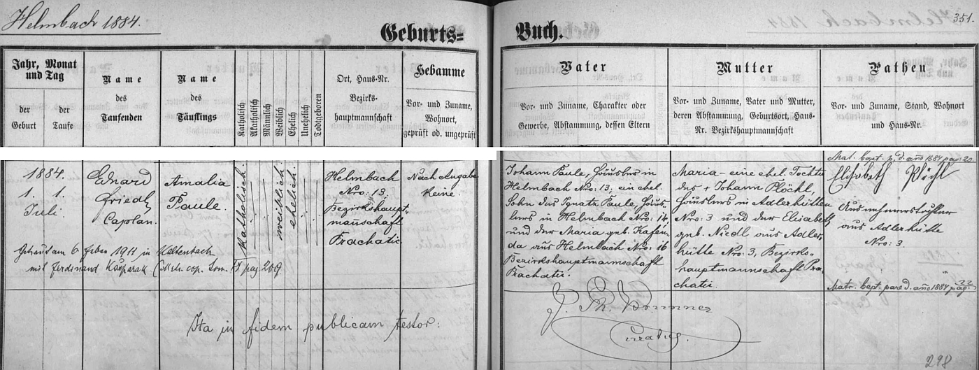 """Záznam vimperské křestní matriky o """"helmbašském"""" narození matčině s pozdějším zápisem o její svatbě vKaltenbachuě"""