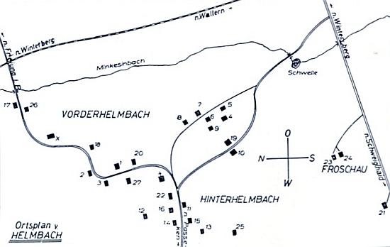 """Plánek Michlovy Huti, v jejíž části zvané """"Hinterhelmbach"""" vidíme dole uprostřed kromě čp. 11 i rodné stavení matčino čp. 13,     nahoře pak směřuje k Vimperku tok řeky Volyňky, která tu má jméno """"Minkesinbach"""""""