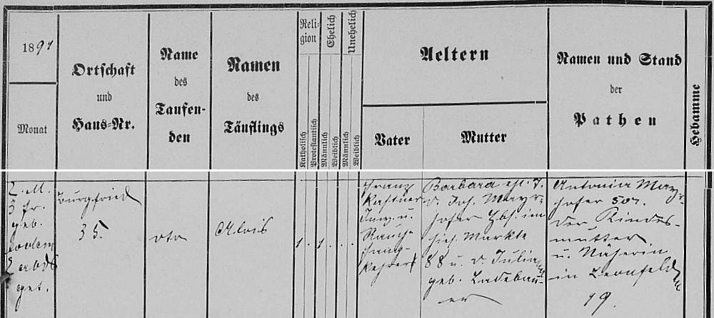 Záznam o jeho narození v leonfeldenské křestní matrice