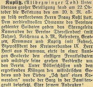 Zpráva o úmrtí otcově v českobudějovickém německém listu