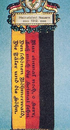 """Odznak nýrské """"Heimatfest"""" s citací Hartauerovy """"šumavské hymny"""""""