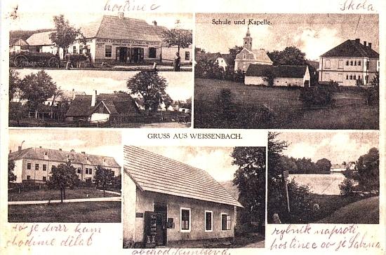 Stará pohlednice osady Vyšné, dnes části města Nové Hrady