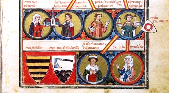 Jako obrazový doprovod jeho textu o Hadmarovi II. z Kuenringů tu slouží výseč z jejich rodokmenu - v horní řadě se zpodobením Hadmara I. a jeho ženy Gertrud, zakladatelů kláštera Zwettl, dále jejich syna Pilgrima a jeho bratrance Albera, v dolní řadě vedle dvou erbů pak Alberova syna Hadmara II. a Gisely ze Sonnbergu