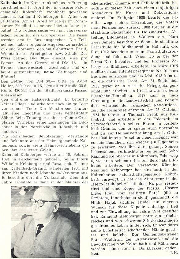 Otcův nekrolog napsal do krajanského měsíčníku Josef Kufner