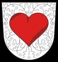 """Znak dolnobavorského městyse Röhrnbach, kde žil Raimund Kelnberger mladší a vedl tu i """"rodáckou jizbu"""" akde je pochován on ijeho otec"""