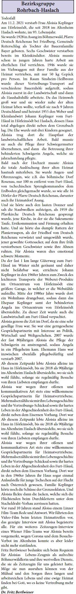 ... i jeho ženy napsal do krajanského listu Fritz Bertlwieser