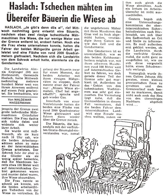 Zpráva rakouského tisku o příhodě jeho ženy z roku 1978