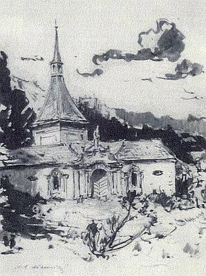 Studenec na akvarelu malíře Černovického z Rožmberka nad Vltavou