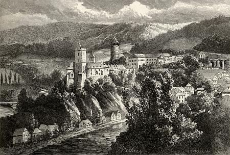 Rodný Rožmberk nad Vltavou na ilustraci Vojtěcha Brechlera z konce 19. století pro Ottovu ediční řadu Čechy...