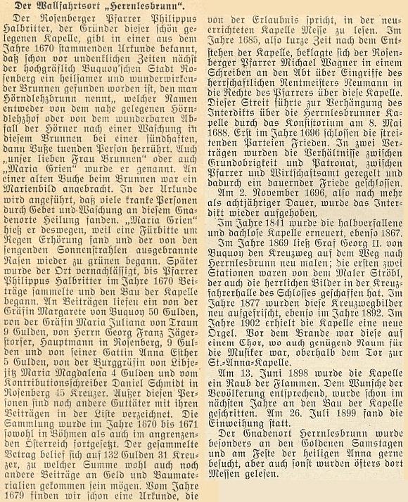 O historii poutního místa Studenec se v lednovém čísle krajanského měsíčníku objevil i tento nepodepsaný text