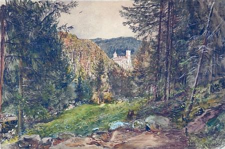 Pohled na Rožmberk z křížové cesty ke Studenci, dílo malíře Rudolfa von Alta (1812-1905)