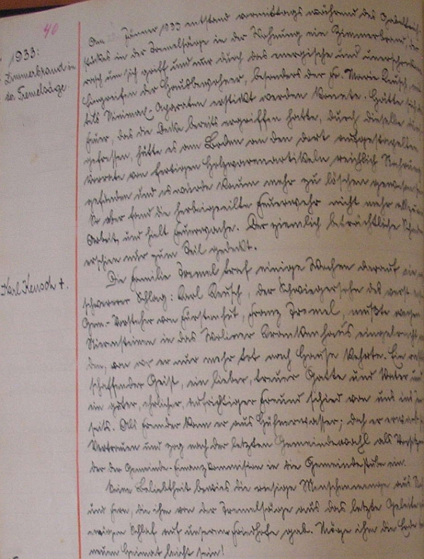 Zpráva o požáru na Tremlově pile a úmrtí jeho otce v obecní kronice Knížecích Plání