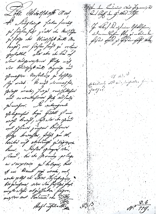 """Dopis vrchního lovčího Wenzela von Feldegg (Feldeck) ze 7. října 1792 o místě k postavení myslivny, která spolu s hájovnou dostala jméno """"Fürstenhut"""""""