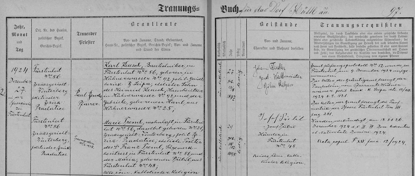 Záznam oddací matriky farní obce Knížecí Pláně o zdejší svatbě jeho rodičů dne 27. prosince roku 1924 (oddával je tu farář Paul Benda) - ženich Karl Keusch,stavební technik na Knížecích Pláních čp. 56 (tj. na Tremlově pile), narozený dne 13. srpna 1897 v téměř zcela dnes zaniklých Kuřivodech (Hühnenwasser), jejichž městské jádro (z 226 domů někdejšího města jich zbylo 16) je dnes hlavní (sídelní) částí města Ralsko, okr. Česká Lípa (Ralsko po Kuřivodech zdědilo i status města), jako syn Heinricha Keusche, majitele chlapcova rodného domu čp. 92, a jeho ženy Gabriele, roz. Hanlové rovněž z Kuřivod čp. 25, bere si tu v Knížecích Pláních za ženu Marii, narozenou  ve zdejším čp. 21 dne 18. prosince roku 1895, dceru majitele pily v Knížecích Pláních čp. 56 Franze Tremla a Marie, roz. Přibilové zKnížecích Plání čp. 48 - svatebními svědky byli četnický strážmistr z Českých Žlebů (Böhmisch Röhren) Johann Fiedler a chalupník zKnížecích Plání čp. 48 Josef Přibil