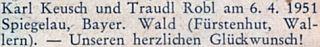 Blahopřání k jeho svatbě ve Spiegelau 6. dubna 1951 na stránkách krajanského měsíčníku