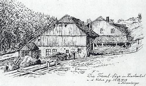 Tremlova pila na kresbě Ludwiga Rosenbergera z července 1939