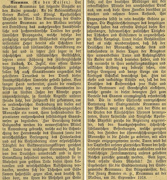 Městská rada v Krumlově si v dopise císaři, podepsaném Khemeterem, stěžuje na velezrádnou činnost Čechů a Jihoslovanů