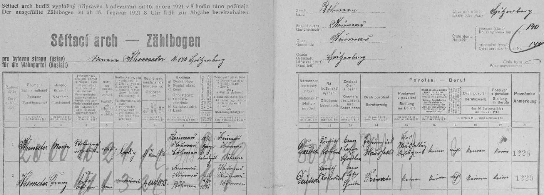 Arch sčítání lidu pro dům čp. 140 na českokrumlovském Špičáku ho uvádí jako spolubydlícího s dcerou Marií (*11. ledna 1876 v Českém Krumlově)
