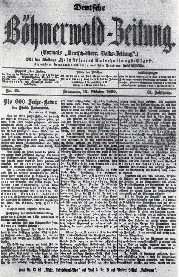 Titulní list krumlovského listu Deutsche Böhmerwald-Zeitung s jeho projevem