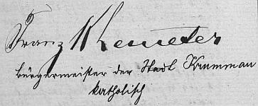 """Jeho podpis starosty a svatebního svědka v českokrumlovské """"Knize oddaných"""" z roku 1906 doprovodil kněz za uvedením starostenské funkce i údajem o náboženském vyznání"""