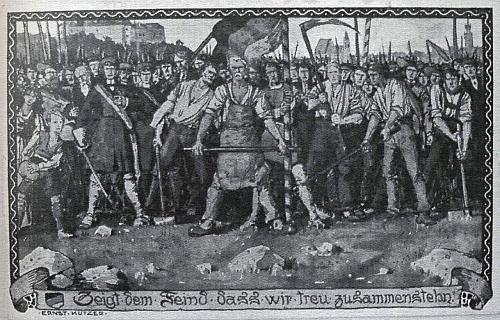 """Pohlednice sdružení Bund der Deutschen s výzvou: """"Ukažte nepříteli, že stojíme věrně při sobě"""""""