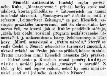 """Zpráva českého listu """"Budivoj"""" o Kiesslichově antisemitismu je antisemitská """"po domácku"""""""