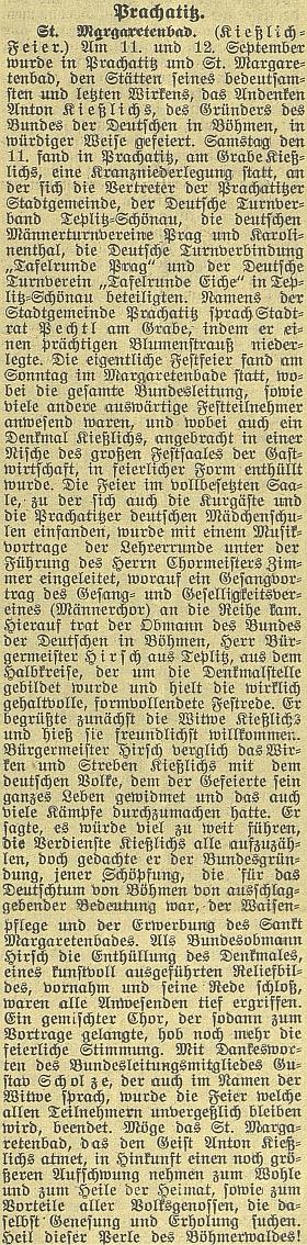 """Velká zpráva o""""Kießlichově"""" slavnosti v Lázních svaté Markéty roku 1926"""