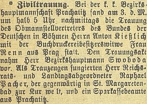 Zpráva o jeho civilním prachatickém sňatku s Theodorou, ovdovělou Rennovou, z Prahy