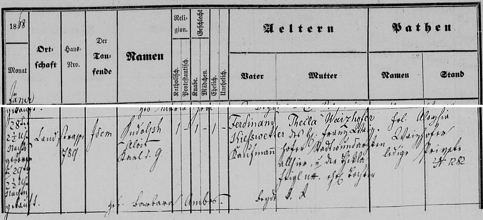 Záznam o jeho narození v křestní matrice při lineckém kostele Svaté Rodiny