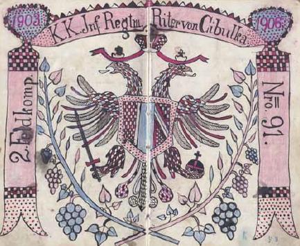 Z deníku jednoho z příslušníků IR91 Františka Bušty je tato dojemně naivní kresba s rudými hrozny na lipových snítkách a českým přepisem příjmení předválečného majitele pluku Huberta rytíře von Czibulky