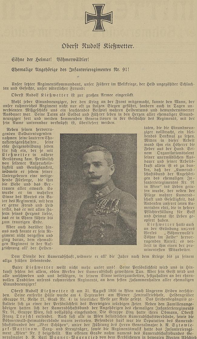 """Nekrolog v """"Böhmerwald"""