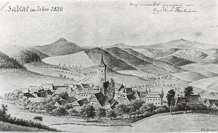 Kresba Záblatí v roce 1820 doprovázela v krajanském časopise jeho text o místním hřbitově